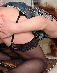 Upskirt milf seducing a red-haired guy into a hardcore butt balling session