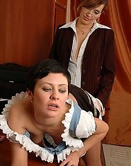 Naughty French maid licking mature gal?s strap-on and tongue-polishing muff
