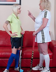 mature lesbian is training a naughty teen pupil