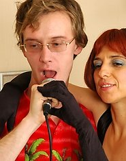Fiery milf makes a guy moan into microphone giving head and opening her box