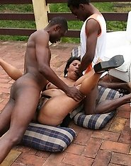 Mature slut getting fucked in a black dude gang bang