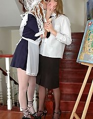 Doll-faced girlie makes passes at her teacher toying and licking older slit