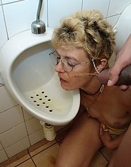 naughty mature sex in a public restroom