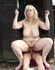 A lovely outdoor sex scene unfolds between the old babe and the horny young man