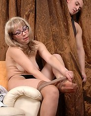 Hung guy can?t resist his lust spying upon mature gal fitting on lacy hose