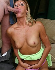 A milf woman showing off her naked as a jaybird body