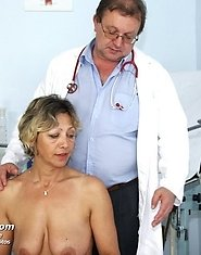 Vanda has her horny mature pussy opened by speculum a gyno examined