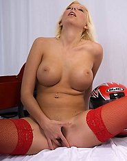 Busty blonde mum in red stockings goes nasty