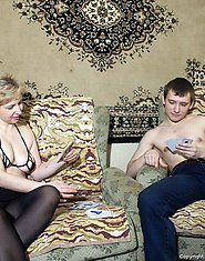 44 y.o. Irina plays strip poker with Egor. It's not too hard to predict who will win this game. On other hand... this is a case when looser is no