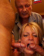 Hot young blondie has gangbang fun with bunch of old geezers