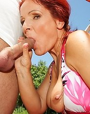 A warm hot creampie in the open air