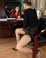 Young lady-boss giving her old assistant a raise after hot strap-on fucking
