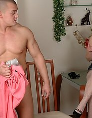 Sultry mommy cannot pass by a muscle stud unwrapping his towel for dicking
